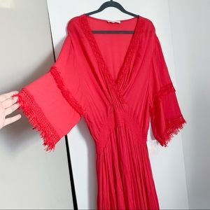 Altar'd State Red Lace Trim Dress